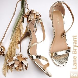New Lane Bryant Gold Embossed Ankle Strap Heels 8w